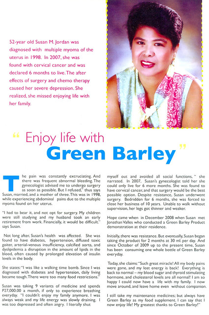 Green barley on cervical cancer, diabetes, hypertension, diffused toxic goiter