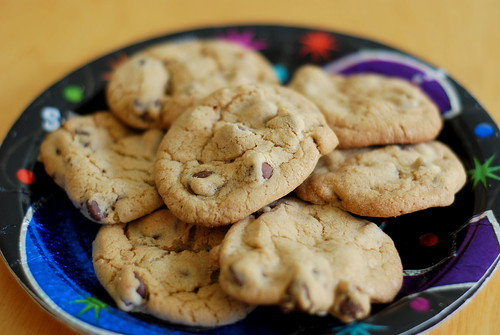 chocolate chip cookies on a party plate