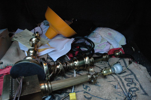 Lamps, the contents of my trunk, Wedgwood, Seattle, Washington, USA