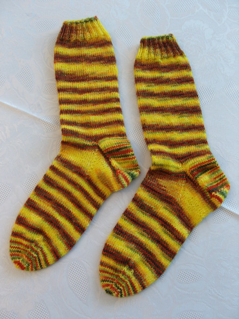 sox, handdyed by me, knit by mom