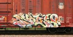 Much (quiet-silence) Tags: railroad art up train graffiti railcar unionpacific much boxcar graff hm freight fr8 whistleblower babyridge