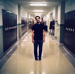Vinnie Kircher of Jaill (Erik_Ljung) Tags: school portrait film wisconsin lockers analog kodak sub band pop hallway milwaukee singer medium format subpop mamiya6 lead portra leadsinger 220 alverno jaill thatshowweburn