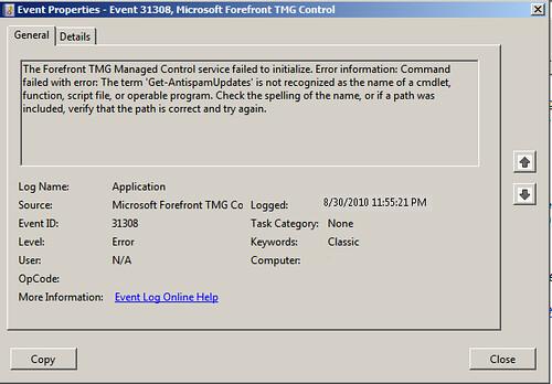 TMG-EdgeSP1 Error