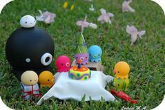 Bday Time (itslour) Tags: birthday party cute grass cake garden table toy japanese candle presents kawaii octopus manju onsenmanjukun takochu
