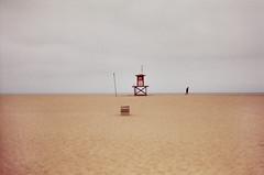 (+quinzilla) Tags: sky film beach 35mm sand jogger lifeguardtower nikonfe2 fujisuperia200 nikkor85mmf2