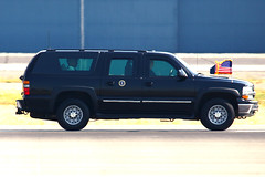 President Obama's Ride (planephotoman) Tags: cat media secretservice watchtower potus boeingfield motorcade theride sweepers seattlewa bfi tcat thepackage presidentialmotorcade chevroletsuburban rearguard supportvehicles armoreddivision presidentialprotection armoredlimo presidentialmovement tacticalcounterassaultteam counterassaultteam