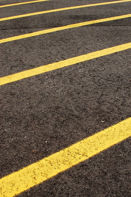 Abstract of painted lines on asphalt.