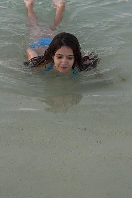 swimming at Bachas Beach, Galapagos