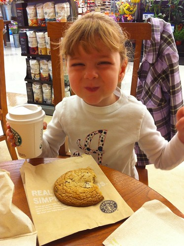 Enjoying a post-preschool snack at Starbucks.