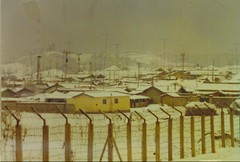 Outside the fence of Camp Humphreys (Ctsimp77) Tags: houses winter camp snow cold korea 1978 1979 usarmy humphreys thehump