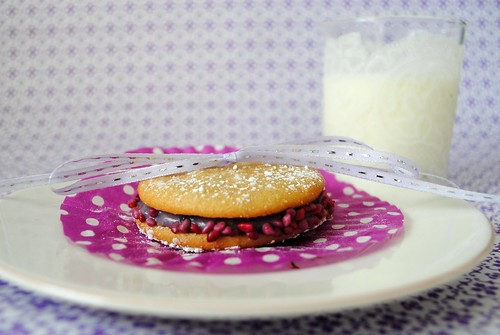 Pear & blackberry whoopie pie and milk