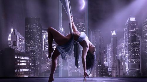 [フリー画像] 人物, 女性, 人と風景, 都市・街, 踊る・ダンス, 201009140300