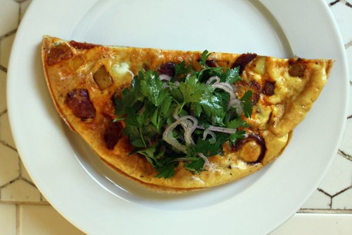 potato and chorizo omelet