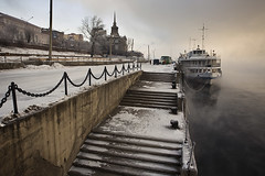 winter bay (filchist) Tags: winter snow cold fog port bay ship russia harbour vessel rive     krasnoyarsk     enisey