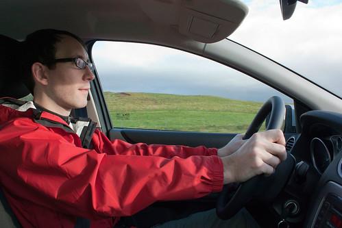Jon manning the wheel