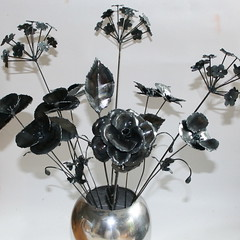 mixed flowers (alison catchlove sculptures) Tags: flowers sculpture art rose poppy allium metalsculpture flowersculpture alisoncatchlove