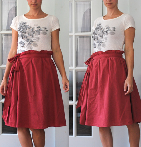 red paper bag skirt from dress