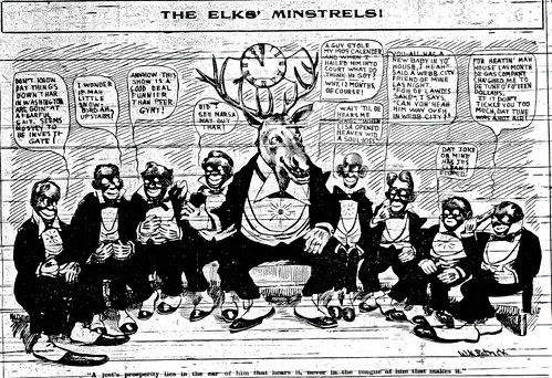A Joplin newspaper cartoon referring to the Elks' Minstrel Show.