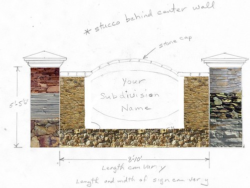 template drawing with photo samples of stonework done by Behringer Stone Masonry company and available for customized stone designs
