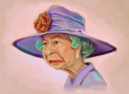 digital caricature of Queen Elizabeth II - 1 small
