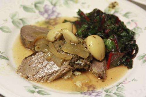 40 Garlic Clove roast with Swiss Chard