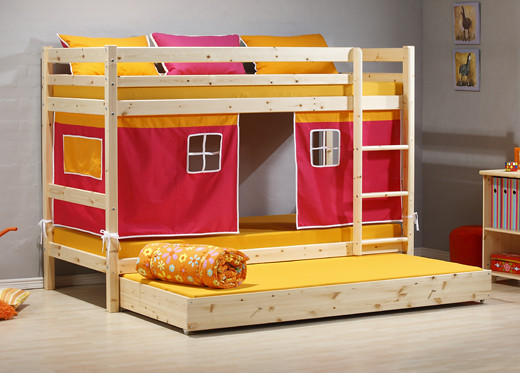 Kinder Bunk Bed Natural Wood with Pink Tent by Dreams Beds and Mattresses