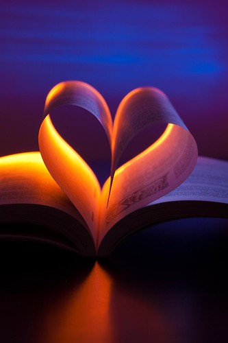 Open book in heart shape