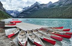 A Place to Escape (Jeff Clow) Tags: travel summer vacation lake mountains tourism getaway canoe albertacanada banffnationalpark canadianrockies lakelouisecanada gettyvacation2010