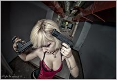 guns and guns (Raffaele Preti) Tags: school abandoned model nikon gun tits decay suicide fisheye abandon blonde guns 8mm grandangolo pistola decadence rovine nissin suicidio abbandono modella d90 pistole samyang