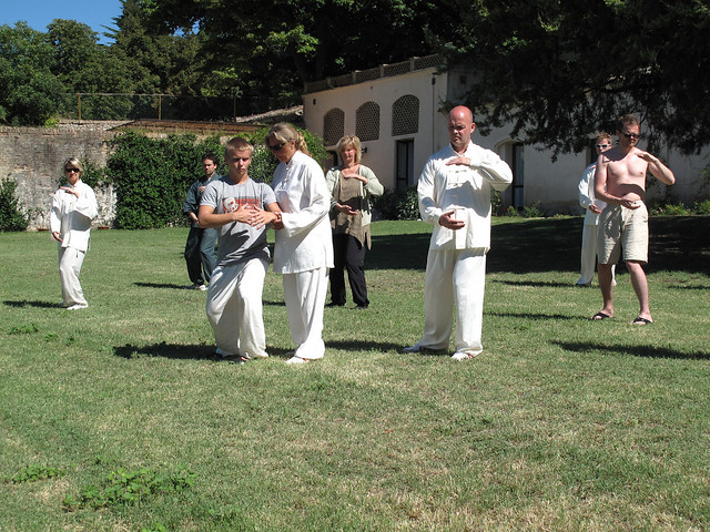 Taiji practice in the garden
