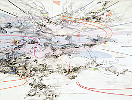 Manifestation (detail), 2003; ink and acrylic on canvas, Julie Mehretu