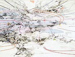Manifestation (detail), 2003; ink and acrylic on canvas, Julie Mehretu