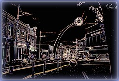 Ebbw Vale Town Centre......(my way ~smile~) (Patricia Speck) Tags: street uk windows light sky people cinema black tree clock car clouds dark stonework creative vale shops tricia posts patricia coloured towncentre speck lampposts swales steelballs ebbw