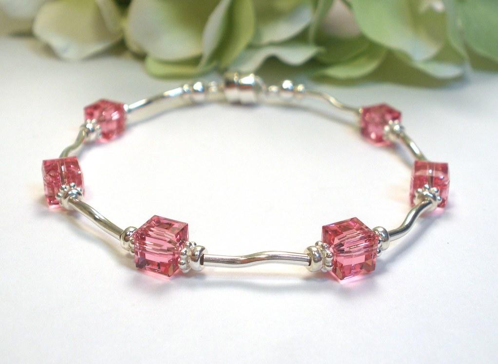 Rose Pink Crystal Cube Sterling Silver Bracelet