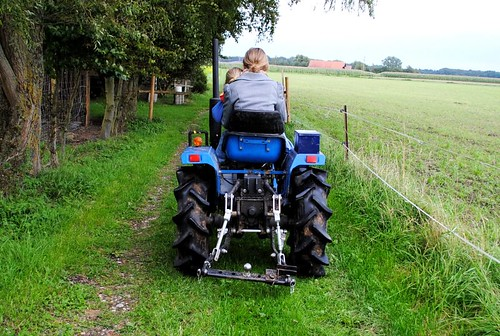 take you for a ride on the big blue tractor...