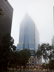 Skyscraper in fog
