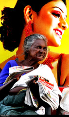 Two Beauties . . . (Subhash Kumarapuram) Tags: tooth business streetseller oldwomen newspapper buties canoneos7d subhashkumarapuram drisyam2010exhibit