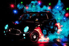 Mad Car Disease! (TxPilot) Tags: longexposure light lightpainting art night painting photography lights graffiti star nikon long exposure paint bright smoke flames mini led lap cooper lighttrails movinglights lightgraffiti minicoopers starburst possessed elwire lightpaint lightemittingdiode electroluminescentwire d700 lightgraf lightartphotography