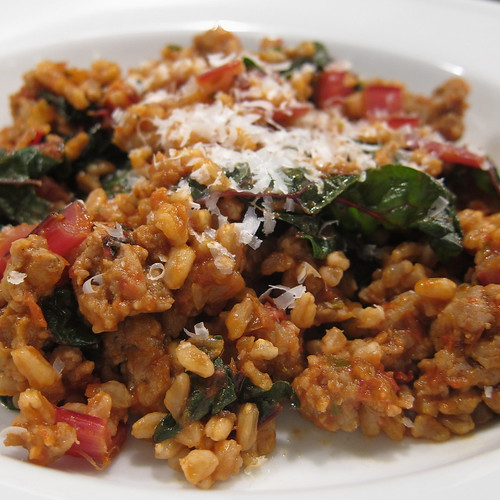 Farro with Sausage & Chard