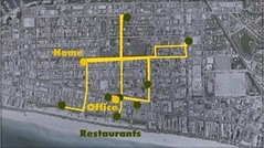 walking routes to just a few of the nearby restaurants (courtesy of Steve Mouzon)