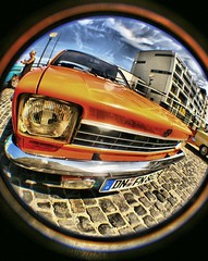 (Henrique Godoy) Tags: orange sun car 1 warm cologne sunny kln fisheye processing flare jpeg opel greatphotographers dphdr
