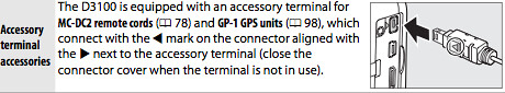 Accessory terminal on the Nikon D3100, as described on page 177 of the Nikon D3100 Manual