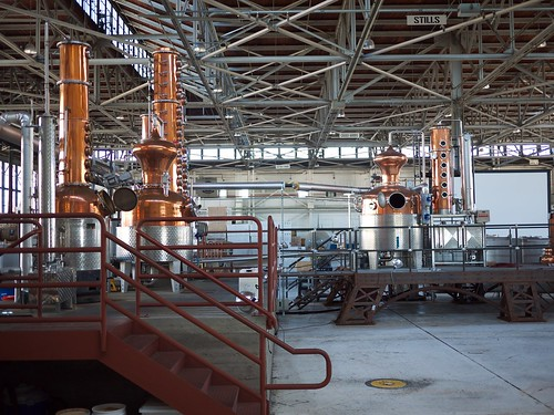 Gleaming copper stills in the St George distillery near San Francisco