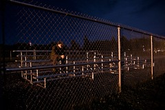 Bench behind the fence (Zach Bonnell) Tags: night newfoundland 350d canonxt gander tamron1750f28