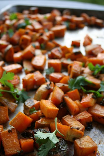 Cilantro Lime Sweet Potatoes with Honey