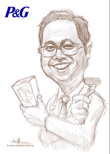 digital caricature for P&G - Ivan - sketch
