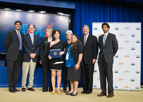 L to R, Aneesh Chopra (White House Chief Technology Officer),Ralph Morelli , Julie Goon (Director of GE's healthymagination project), Nina Limardo (Trinity College'11), Kathleen Sibelius (Secretary of the U.S. Department of Health and Human Services), Pauline Lake (Trinity College'13), Tom Vilsack (Secretary of the U.S. Department of Agriculture), Trishan de Lanerolle. USDA Photo by Bob Nichols.