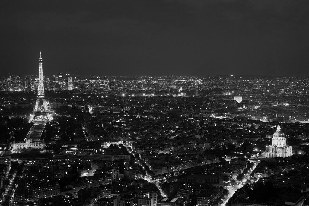 Paris panorama in monochrome
