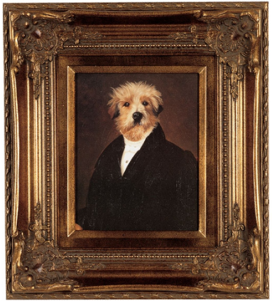 victorian dog portrait -framed