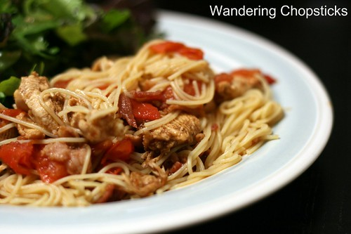 Angel Hair Pasta with Balsamic Chicken, Bacon, and Diced Tomatoes 3